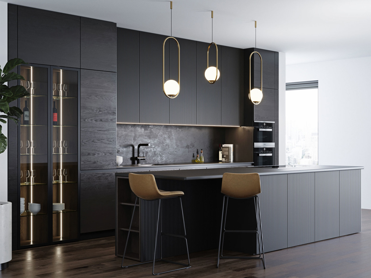 moderna crna kuhinja